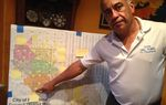 Oscar Del Toro, who lost a Pasadena City Council race for an at-large seat in 2015, and is running again this year, points to the city's redistricting map.
