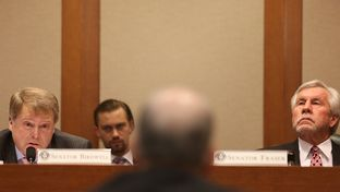 State Sens. Brian Birdwell, R-Granbury, and Troy Fraser, R-Horseshoe Bay, listen to testimony at a Senate Committee on State Affairs hearing reviewing current ethics laws governing public officials and employees on Oct, 5, 2016.