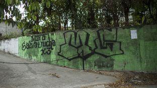 A gang sign for the Mara Salvatrucha gang in Soyapango, El Salvador.