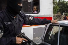 A Policia Nacional Civil patrol in the La Campanera neighborhood of Soyapango, just outside of San Salvador, El Salvador. The neighborhood is known to be controlled by the Calle 18 gang.