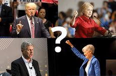 Presidential candidates, clockwise from top left: Republican Donald Trump, Democrat Hillary Clinton, Jill Stein of the Green Party and Libertarian Gary Johnson.
