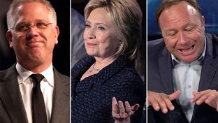 Radio hosts Glenn Beck (l.) and Alex Jones flank Democratic presidential nominee Hillary Clinton.