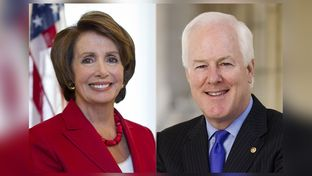 U.S. Rep. Nancy Pelosi, D-California and U.S. Sen. John Cornyn, R-Texas.