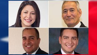 Democrat Mary Ann Perez is challenging state Rep. Gilbert Peña, R-Pasadena (top right), in House District 144; in another rematch, Democrat Philip Cortez (bottom right) is attempting to regain his seat from state Rep. Rick Galindo, R-San Antonio.