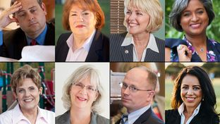L-R, top row: State Rep. Rodney Anderson, R-Grand Prairie, and Democratic challenger Terry Meza; state Rep. Cindy Burkett, R-Sunnyvale and Democratic challenger Rhetta Bowers. L-R, bottom row: state Rep. Linda Koop, R-Dallas, and Democratic challenger Laura Irvin; and state Rep. Kenneth Sheets and Democratic challenger Victoria Neave.