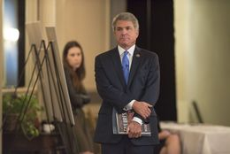 U.S. Congressman Michael McCaul waits to go onstage with editor Evan Smith at TTEvents on Oct. 25, 2016.