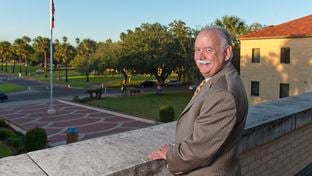 Dr. Steven H. Tallant, president of Texas A&M University-Kingsville, on the balcony of the university's College Hall building on Oct. 26, 2016.