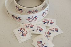 """The popular """"I Voted"""" stickers at a south Texas early voting location on October 26, 2016."""