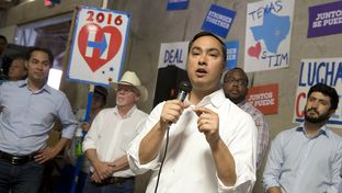 U.S. Rep. Joaquin Castro, D-San Antonio, addresses Democrats at a get-out-the-vote really Saturday in Austin. He was joined by his twin brother, U.S. Housing Secretary Julían Castro.