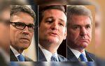 (L.-R.) Former Governor Rick Perry, U.S. Sen. Ted Cruz and U.S. Rep. Michael McCaul, R-Austin.