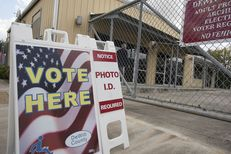 During the first week of early voting for the 2016 presidential elections, civil rights lawyers took issue with this sign outside of a polling place in Cuero. It did not mention options for casting a ballot without photo ID.