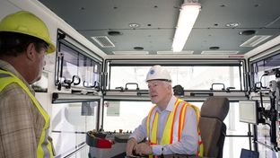 U.S. Sen. John Cornyn, R-Texas, operating a crane at the Port of Houston Authority on November 1, 2016. The port is ranked first in the country for imports and exports, and second for overall tonnage.