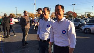 HUD Secretary Julián (l.) and twin brother, U.S. Rep. Joaquin Castro, D-San Antonio, campaign for Hillary Clinton at a Columbus, Ohio polling location on November 6, 2016.