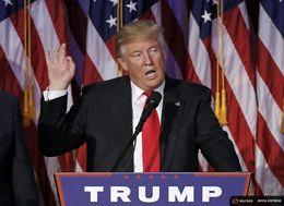U.S. President elect Donald Trump speaks at election night rally in Manhattan, New York on Nov. 9, 2016.