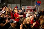 Trump supporters at the Harris County Republican Party headquarters election watch party  in Houston on Nov. 8, 2016