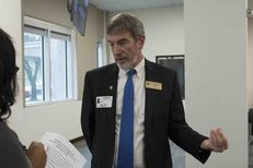 Joe Pojman, executive director of Texas Alliance for Life, speaks to a reporter at the Department of State Health Services public hearing on fetal tissue remains on Nov. 9, 2016.