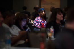 Guests watch the election coverage during the Dallas County Democratic watch party in Dallas, Texas on Nov. 8, 2016.