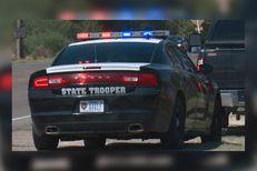 A DPS trooper spots a motorist along Highway 83 in Starr County.