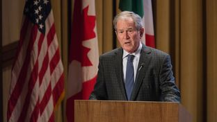 President George W. Bush speaks at the 2016 NASCO Continental Reunion at the George W. Bush Presidential Library in Dallas on Nov. 15, 2016.