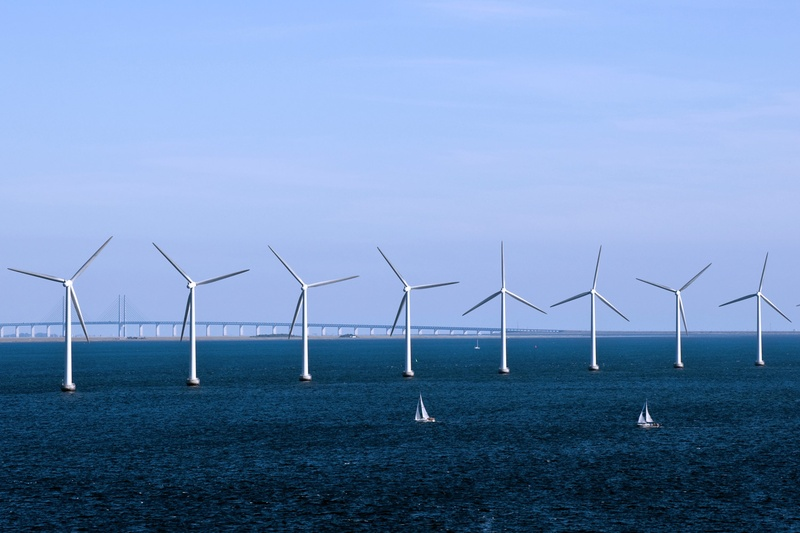 A wind farm generates electricity off the coast of Copenhagen. Wind energy accounted for 42 percent of Denmark's generation last year. Four decades ago, the country depended almost entirely on imported oil.