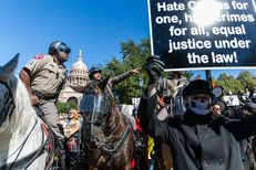 White Lives Matter rally and opposing protest at the Texas State Capitol Saturday, Nov. 19, 2016.