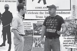 Preston Wiginton, right, during a celebration of Second Amendment Day he organized on the Texas A&M University campus in 2013.