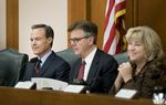 The Texas Legislative Budget Board, including (l-r) Speaker Joe Straus, Lt. Governor Dan Patrick and state Sen. Jane Nelson, met on Thursday, December 1, 2016 to set the state's spending limit for the next session and get an update on the Texas economy from the state comptroller.