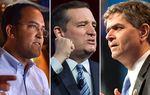 (L-R) U.S. Rep. Filemon Vela, U.S. Sen. Ted Cruz and U.S. Rep. Will Hurd.