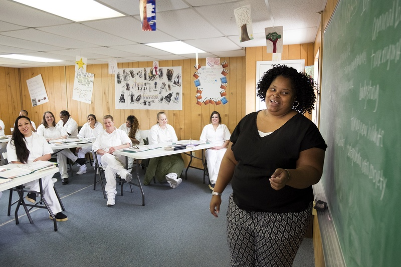 The Texas Department of Criminal Justice recently launched a 6-month program that helps women at the Marlin Transfer Facility with treatment and life skills training right before they go back into society. During a recent class, Irvanette Lofton teaches inmates about budgeting and finding a job.