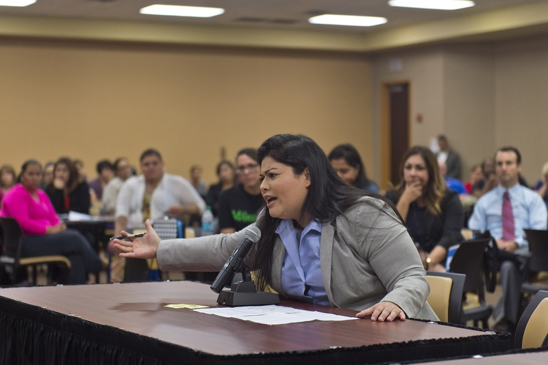 Vanessa Tijerina addresses a U.S. Department of Education panel about her 13-year-old special needs child on Dec. 13, 2016, in Edinburg, Texas. Federal education officials toured Texas to hear community members' experiences with special education, as part of an investigation into whether Texas is capping services for students with disabilities.