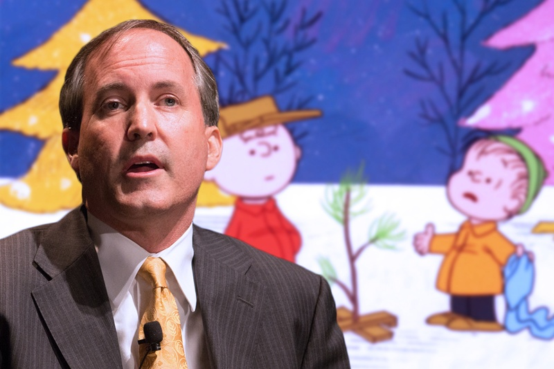 Ken Paxton has come to the defense of a Christmas-themed Peanuts poster. But this isn't the first time a Texas official has fought over Christmas.