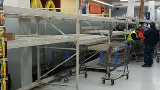 The shelves in the bottled water section of a Walmart in Corpus Christi were nearly empty on the morning of Dec. 15, 2016.  City officials announced a ban on using the city's water the evening before due to a chemical making its way into the supply.