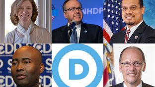 Five candidates to chair the Democratic National Committee speaking in Austin (clockwise, from top left): Idaho Democratic Party Executive Director Sally Boynton Brown; New Hampshire Democratic Party Chairman Ray Buckley; U.S. Congressman Keith Ellison; U.S. Secretary of Labor Tom Perez; and South Carolina Democratic Party Chair Jaime Harrison.