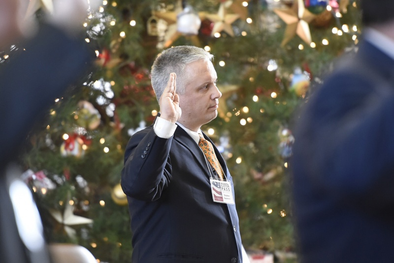 Elector Christopher Suprun, who said he will vote for Ohio Gov. John Kasich instead of Donald Trump, is sworn in at the Texas Capitol as a member of the Electoral College on December 19, 2016.