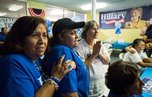 Hillary Clinton supporters watch election night coverage at the Hidalgo County and Hillary for America Headquarters in McAllen.