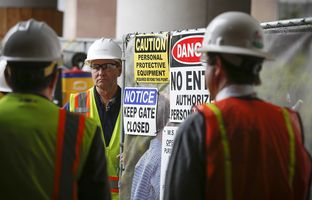 Nelson Kirkham, Bellows project supervisor, at a construction site for Texas Children's Hospital in Houston.