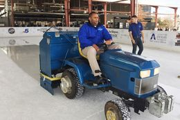 U.S. Rep. Marc Veasey, D-Fort Worth, operates an ice-resurfacing machines at a Fort Worth ice skating rink on Dec. 21, 2016, as part of an ongoing effort to perform constituent jobs in his district.