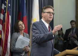 "Lt. Gov. Dan Patrick and state Sen. Lois Kolkhorst unveil the text of Senate Bill 6, which would require transgender people to use bathrooms in public schools, government buildings and universities based on ""biological sex,"" on Jan. 5, 2017."