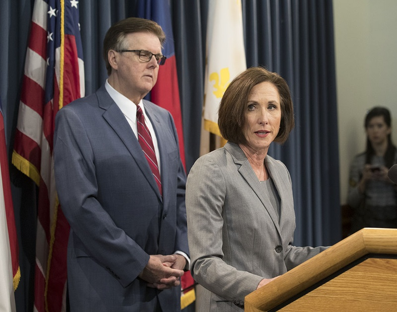 "State Sen. Lois Kolkhorst and Lt. Gov. Dan Patrick  discuss details of a so-called ""bathroom bill"" on Jan. 5, 2017."