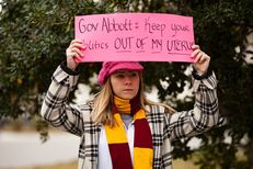 Alli Pierce joined protestors of the fetal remains burial rule outside of the Governor's Mansion on January 6, 2016 in freezing temperatures.