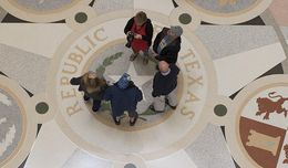 Tourists gather around the Lone Star in the Capitol rotunda Jan. 10, 2017 about an hour before the 85th Texas Legislature kicks off.