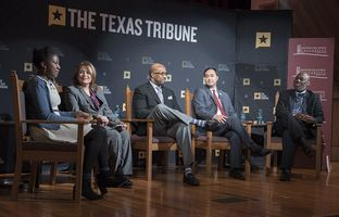 Reporter Aliyya Swaby (l.) moderates a panel on race and education in Texas with (l-r) Assistant Superintendent for the San Antonio ISD Judith Solis, Paul Quinn College President Michael Sorrell, former Texas education Commissioner Michael Williams and U.S. Rep. Joaquin Castro, D-San Antonio at The Texas Tribune Symposium on Race and Public Policy at Huston-Tillotson University in Austin on January 14, 2017.
