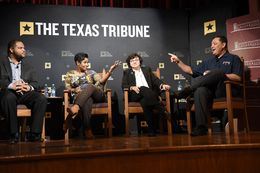 (L-R) State Rep. Eric Johnson, D-Dallas, Jefferson County Sheriff Zena Stephens, Dallas County Sheriff Lupe Valdez and newly appointed Houston Police Chief Art Acevedo discuss race and policing at The Texas Tribune's Symposium on Race and Public Policy at Huston-Tillotson University in Austin on January 14, 2017.