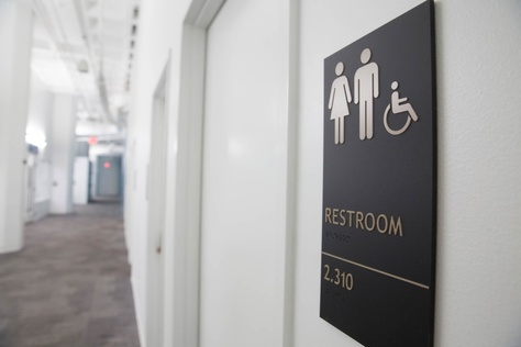 An all gender restroom at The University of Texas at Austin.
