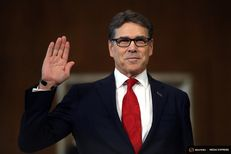 Former Gov. Perry is sworn in before testifying at a Senate Energy and Natural Resources Committee hearing on his nomination to be Energy secretary on Capitol Hill in Washington, D.C., on January 19, 2017.