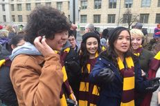 San Antonio high school students (l.-r.) Justin Cantu, Jacob Webster, Sarahi Rivas, Cianna Kaysing and Autumn Duerr, in Washington, D.C. for the Inauguration of President Trump, on January 20, 2017.