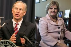 Gov. Greg Abbott and Travis County Sheriff Sally Hernandez.