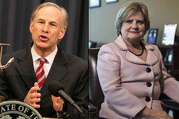 Gov. Greg Abbott and Travis County Sheriff Sally Hernandez.