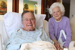 Former President George H.W. Bush and wife Barbara Bush in Houston Methodist Hospital.