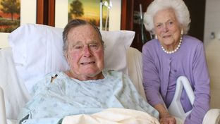 Former President George H.W. Bush and wife Barbara Bush in Houston Methodist Hospital.